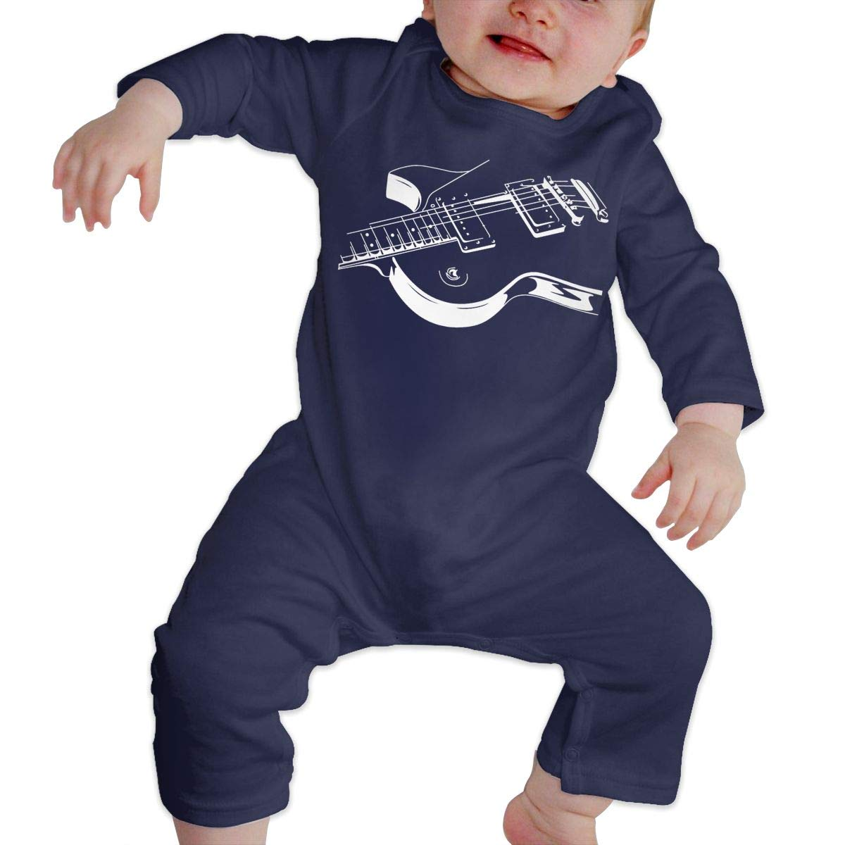 White Art Guitar Infant Baby Boy Girl Sleep and Play Jumpsuit Overall Romper