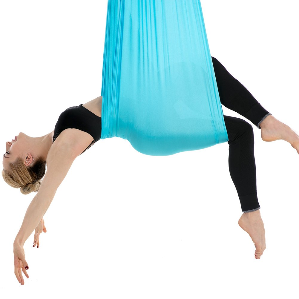 Tofern Aerial Yoga Hammock Kit 5.5 Yards Antigravity Trapeze Inversion Exercise Home Indoor Outdoor Yoga Silk Swing Sling Set with Hardware Ceiling Hooks Bolts 2 Extension Straps, Sky Blue by Tofern (Image #6)