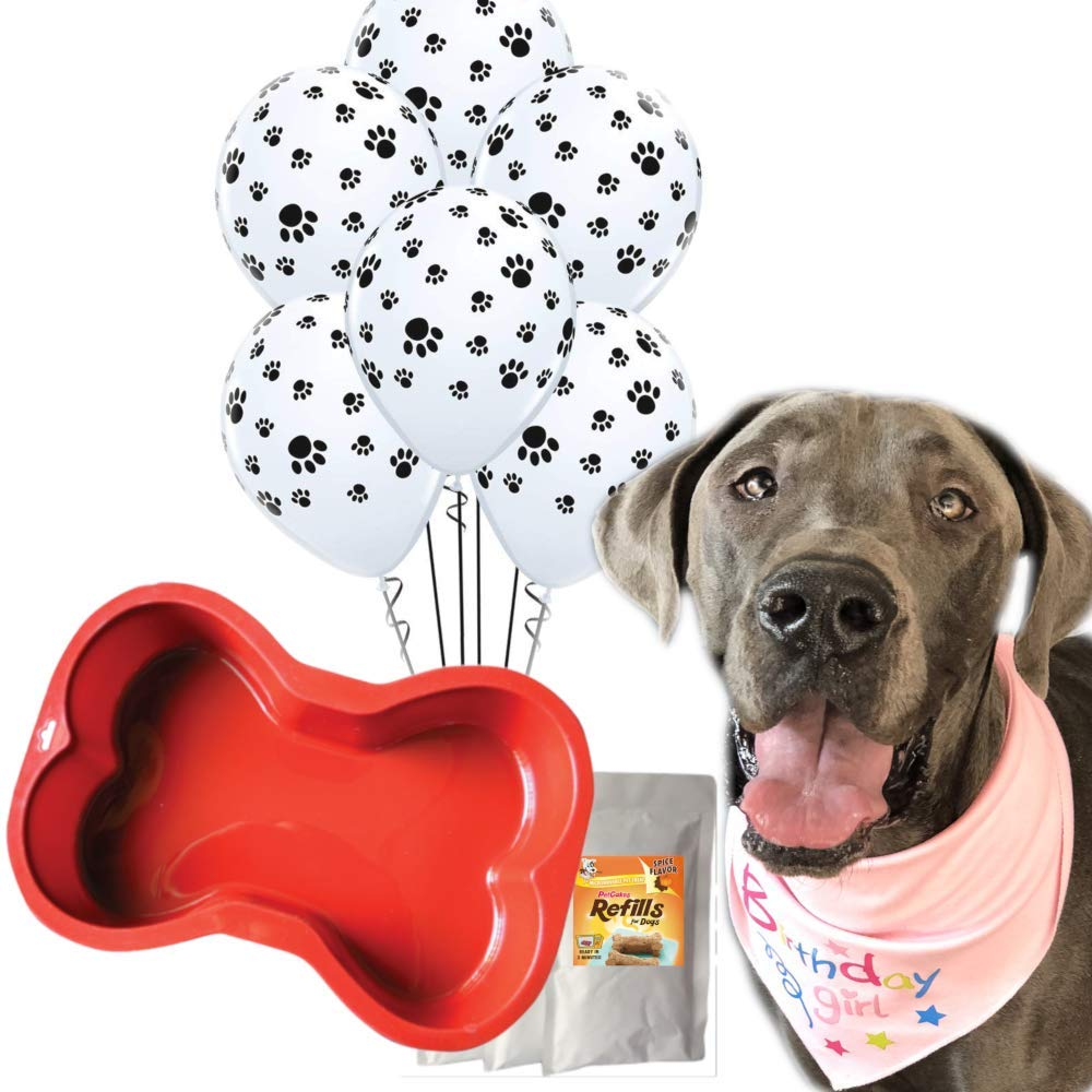 Doggy Party Supplies & Dog Birthday Cake | Reusable Silicone Bone Cake Pan | 100% Natural Dog Birthday Cake Mix | 6 Paw Print Balloons and Pink Birthday Bandana
