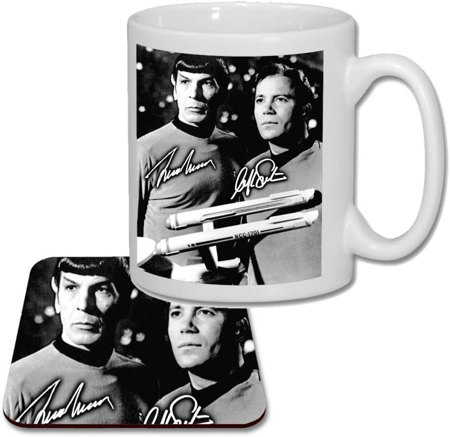 V1 Star Trek Spock /& Kirk Leonard Nimoy /& William Shatner Birthday Present 2019 Matching Mug and Coaster Gift Set Ideal Mothers Day