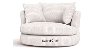 Beau Large Swivel Round Cuddle Chair Fabric Chenille Leather Designer Scatter  Cushions (Cream)