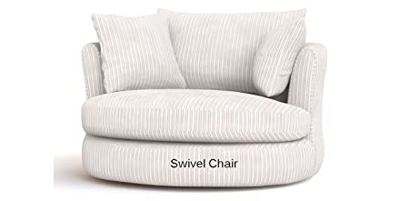 Large Swivel Round Cuddle Chair Fabric Chenille Leather Designer Scatter  Cushions (Cream)