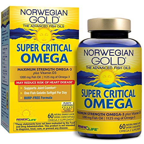 (Renew Life Norwegian Gold Adult Fish Oil - Super Critical Omega, Fish Oil Omega 3 Supplement - 60 Burp-Free Softgel Capsules (Packaging May Vary) )