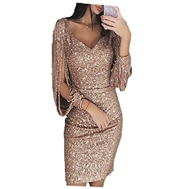 9cd391e2be Vinyst Women's Macrame Sequin Glitter Slim Fit Hollow Out Pencil ...