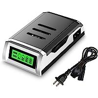 YOMYM Cargador de batería Inteligente Universal de 4 Ranuras con Pantalla LCD para Pilas Recargables de Ni-CD Ni-MH AA/AAA
