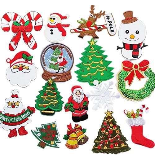 - Chenkou Craft 16pcs Random Merry Christmas Sew-on & Iron-on Patch Santa Tree Snowman Beer Jingle Bell Claus Embroidered Patches (Christmas Patch)