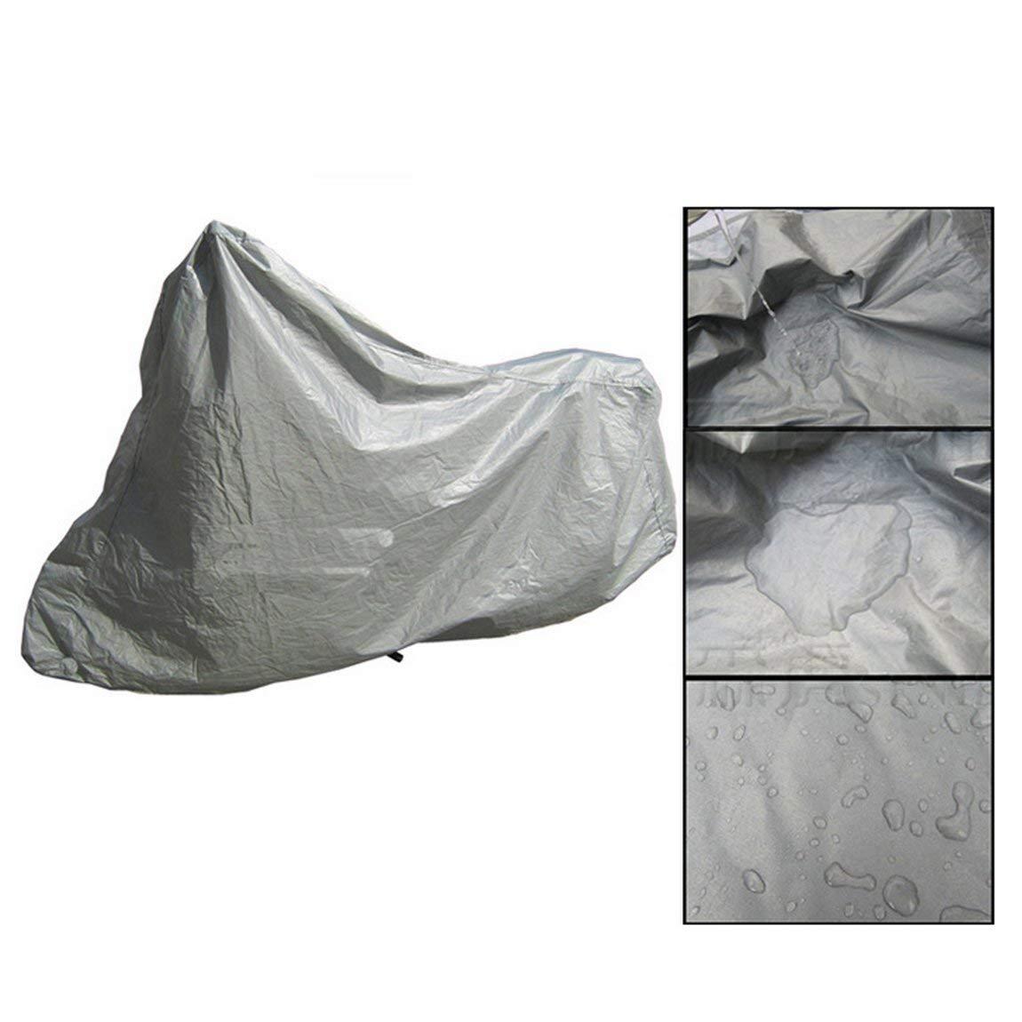 argento Telo coprimoto protettivo completo Anti UV impermeabile antipolvere antipioggia moto traspirante cappuccio tenda esterna coperta m