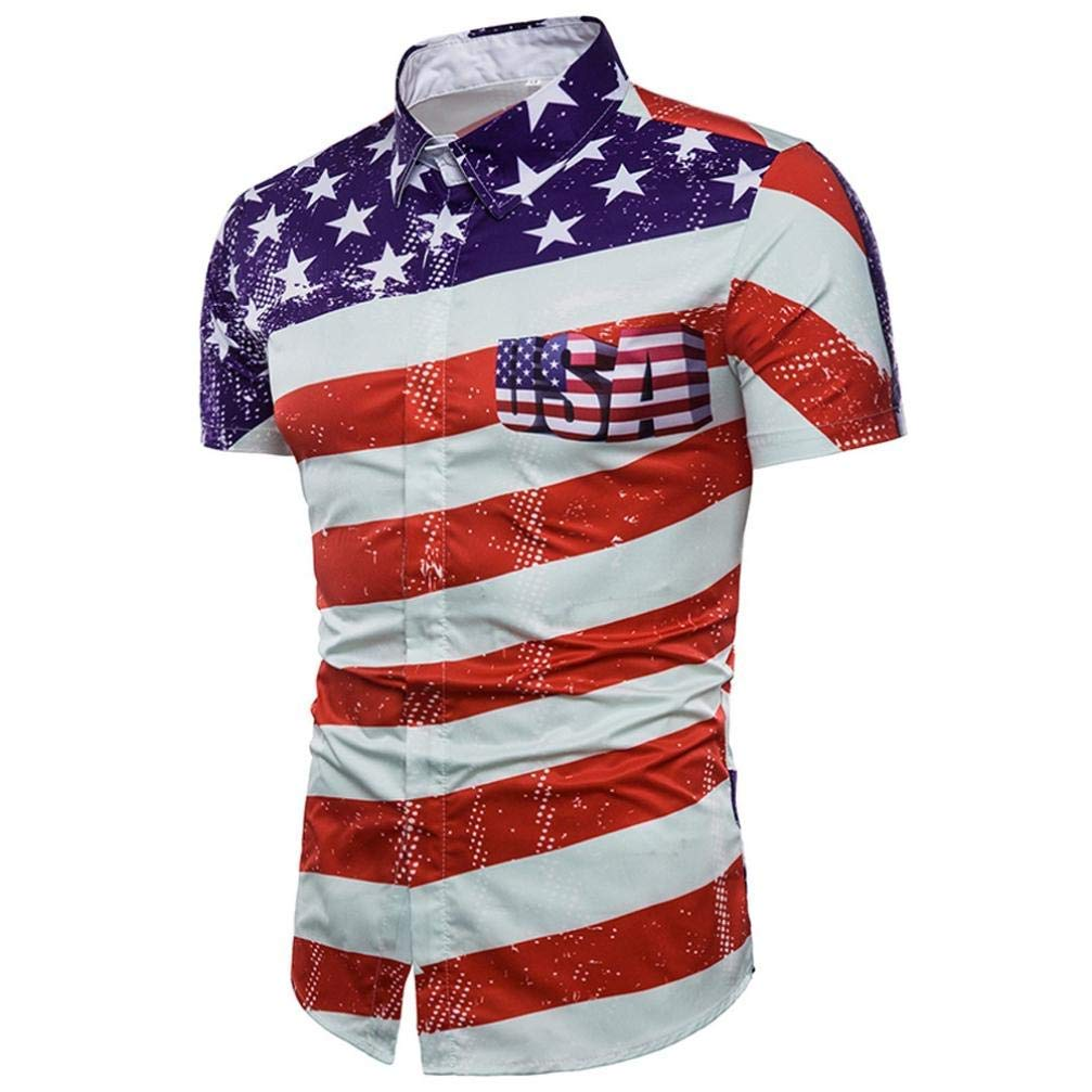 GouuoHi Men Casual Mens Casual Slim Short Sleeve American Flag Printed Shirt Top Blouse Take It Matching Wild Tight for Men