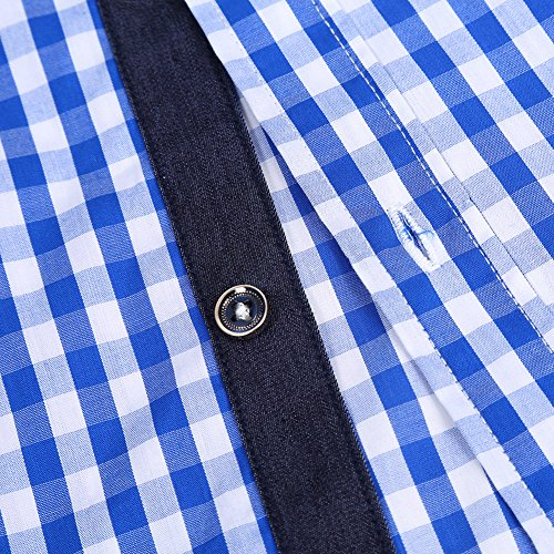 GloryStar Men's Casual Classics Oktoberfest costumes Turn-down Collar Long Sleeve Check Shirt Blue and White Checked XXL by GloryStar (Image #4)