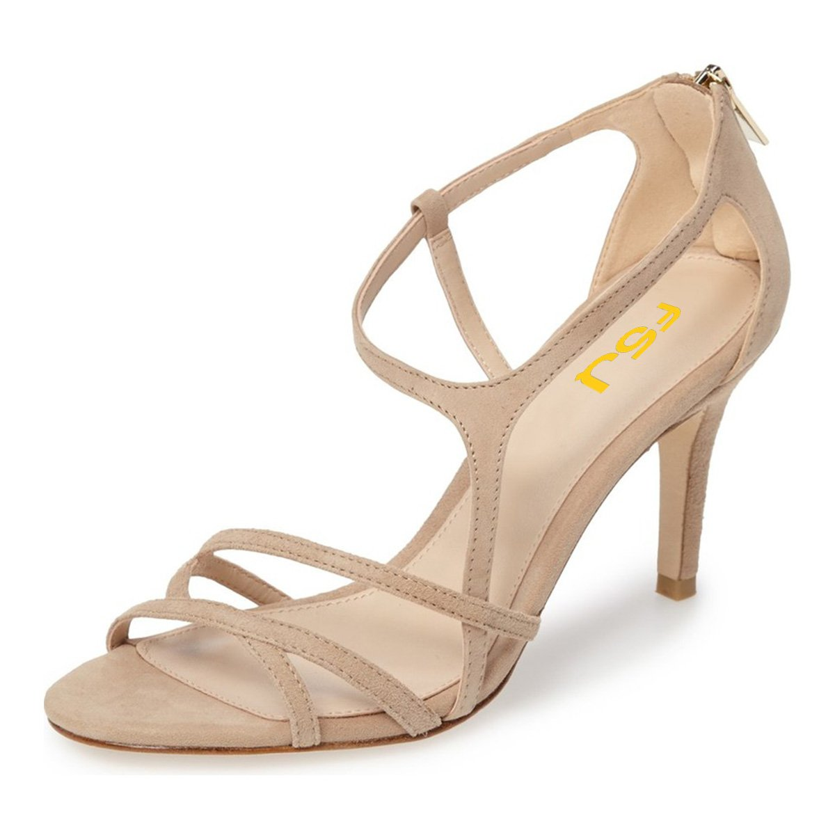 739c3374c6 FSJ Women Classy Classy Classy Strappy High Heel Sandals Cut Out Back  Zipper Evening Party Prom