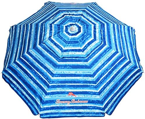 Tommy Bahama Sand Anchor 7 feet Beach Umbrella with Tilt and Telescoping Pole Blue White