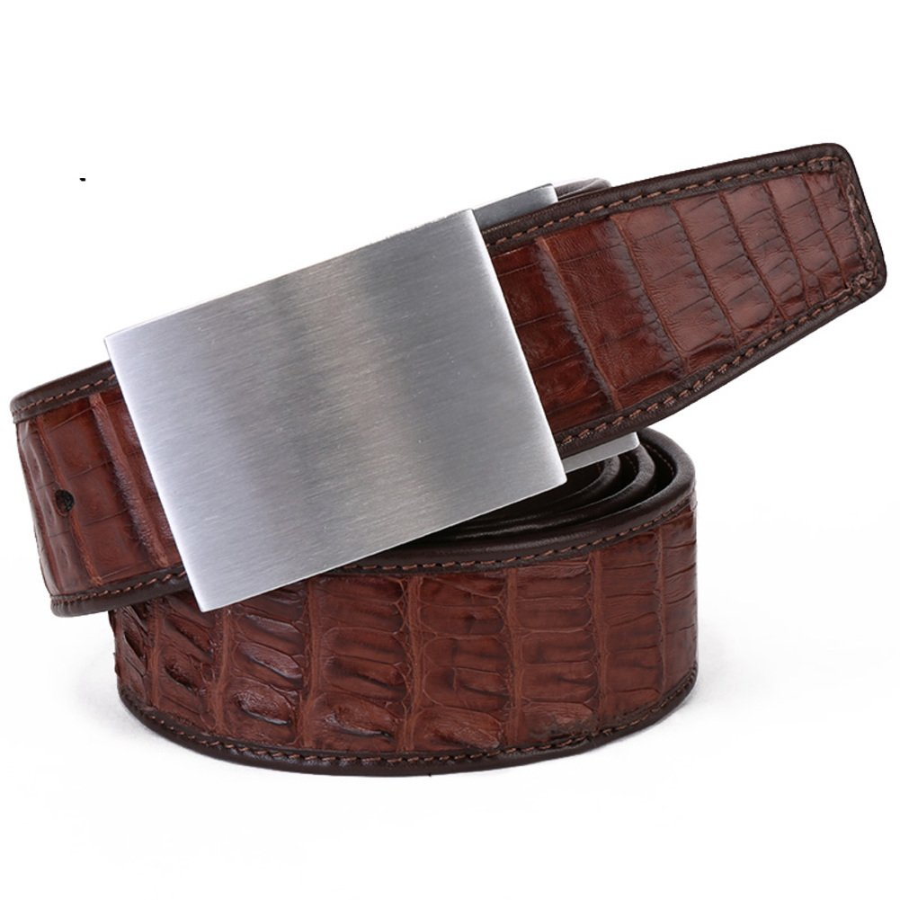 Men's Belt/Smooth Buckle Casual High-end Business Belt/Leather Belts-dark brown One Size