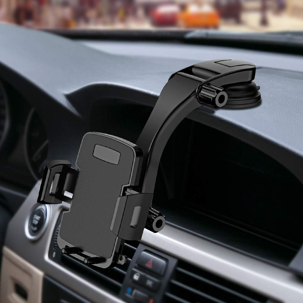 Miracase Cell Phone Holder for Car,Upgrade Dashboard & Windshield 360° Rotation One Button Car Phone Mount Holder Compatible iPhone Xs MAX/XS/XR/X/8plus/7/8/6,Galaxy S10/S9/S8,Google,Huawei(4''-6.5'')