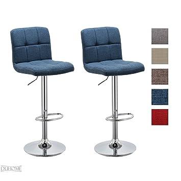 Barhocker Blau barhocker 2x barstuhl blau aus stoff leinen drehstuhl tresenhocker