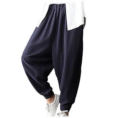 Mujer Elegantes Moda Primavera Otoño 3/4 Pantalones Elastische Taille Fiesta Estilo Color Sólido Anchos Hip Hop Boho Pantalones Aladdin Pantalon Lino Outdoor Cómodo Hipster Pantalones De Niña: Ropa y accesorios