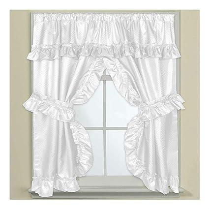 Bathroom Window Curtain Set W Tie Backs Ruffle