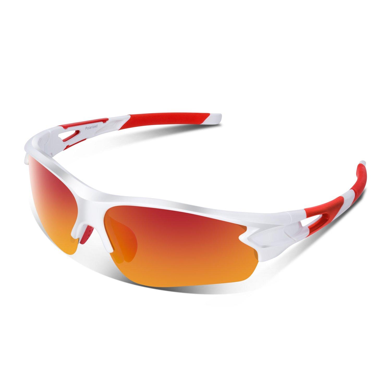 bfcfa85cf9c JULI Polarized Sports Sunglasses for Men Women Tr90 Unbreakable Frame for  Running Fishing Baseball Driving MJ8002
