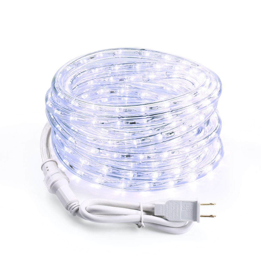 Brizled 18ft 216 led outdoor rope lights 120v ul listed flexible brizled 18ft 216 led outdoor rope lights 120v ul listed flexible led tube lights for holiday garden and patio decorations cool white aloadofball Choice Image