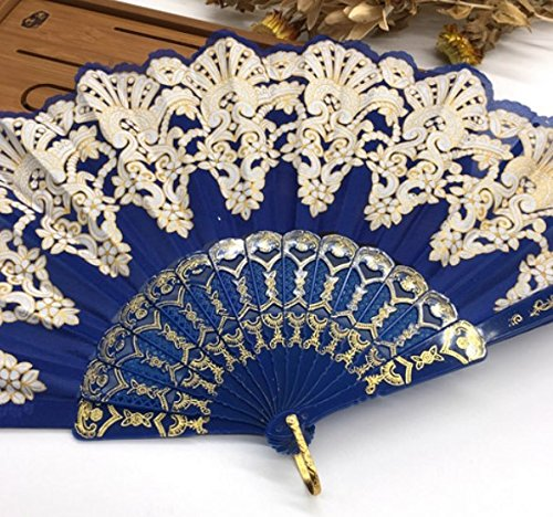 Black Edge Multi-Colors Fabric Floral Plastic Sequins Peacock Lace Elegant Hand Fans Wedding Favors And Gifts Dance Fan