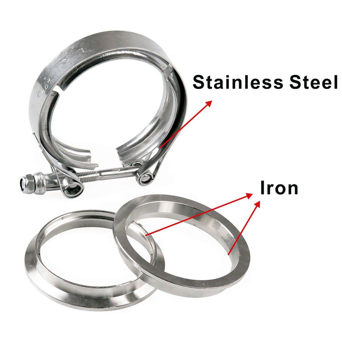 MASO 3 Inch Innet 76mm V Band Clamp /& Flange Kit Male /& Female Set Fittings SS304 Stainless Steel V Band Flat Flange Clamp Kit Assembly