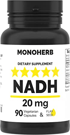 NADH 20 mg - 90 Vegetarian Capsules - Reduced Nicotinamide Adenine Dinucleotide Supplement