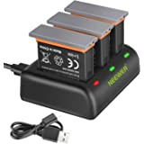 Neewer Battery Charger Set Compatible with DJI OSMO Action Camera (3-Pack 1300mAh AB1 Replacement Battery, 3-Channel Charger