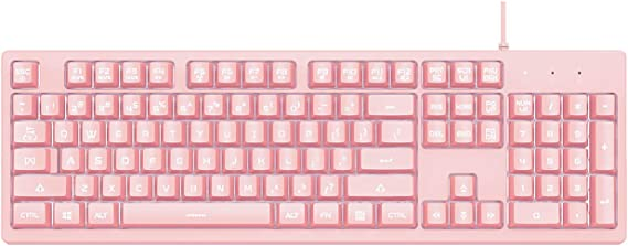 Ajazz DKS100 Teclado silencioso, DOUYU teclado de tacto mecánico con retroiluminación blanca y membrana para videojuegos, con cable 104 teclas para la ...