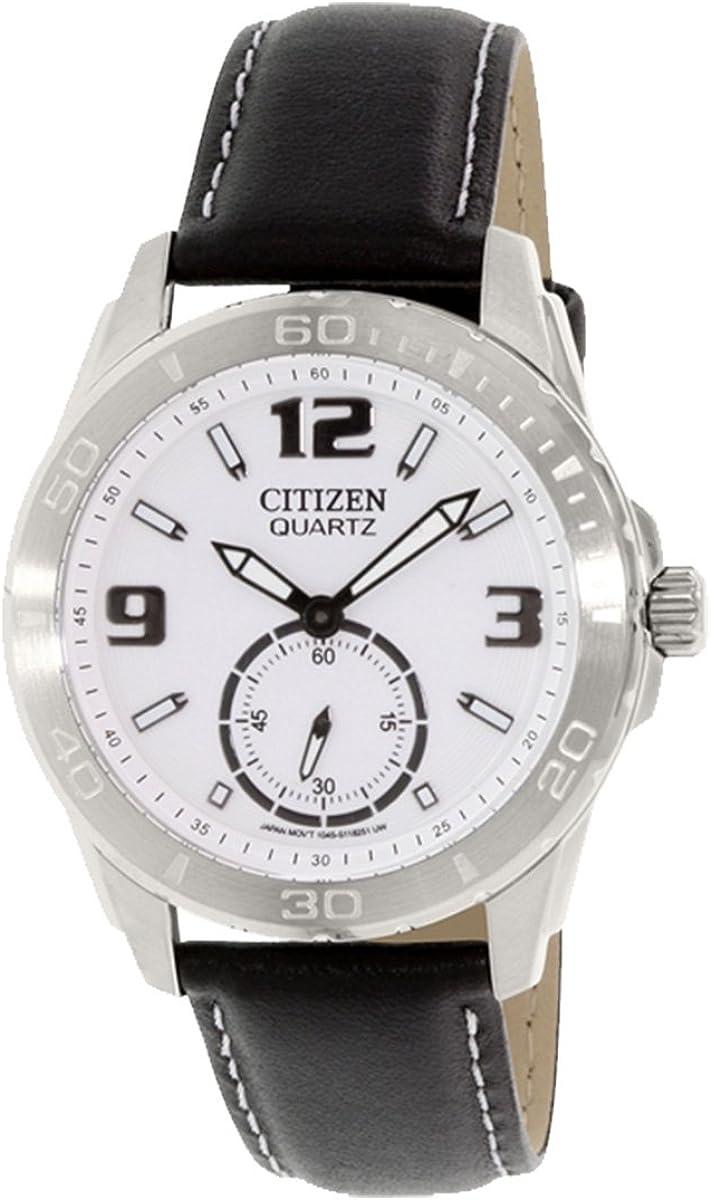 Citizen AO3010-05A Men s White Dial Black Leather Strap Quartz Watch