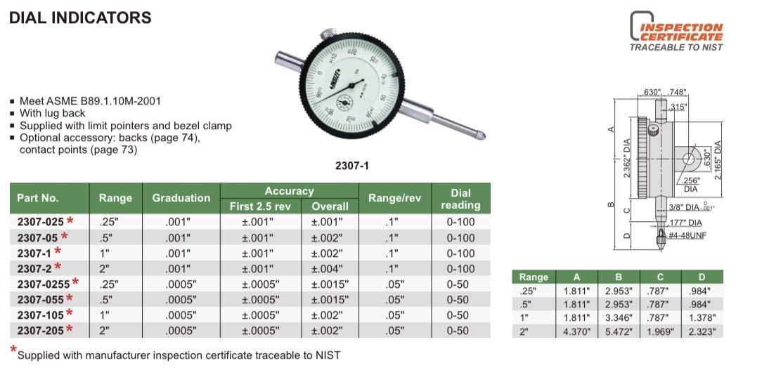graduaci/ón 0,01 mm INSIZE 2308-3A Indicador de dial 3 mm parte trasera de leng/üeta