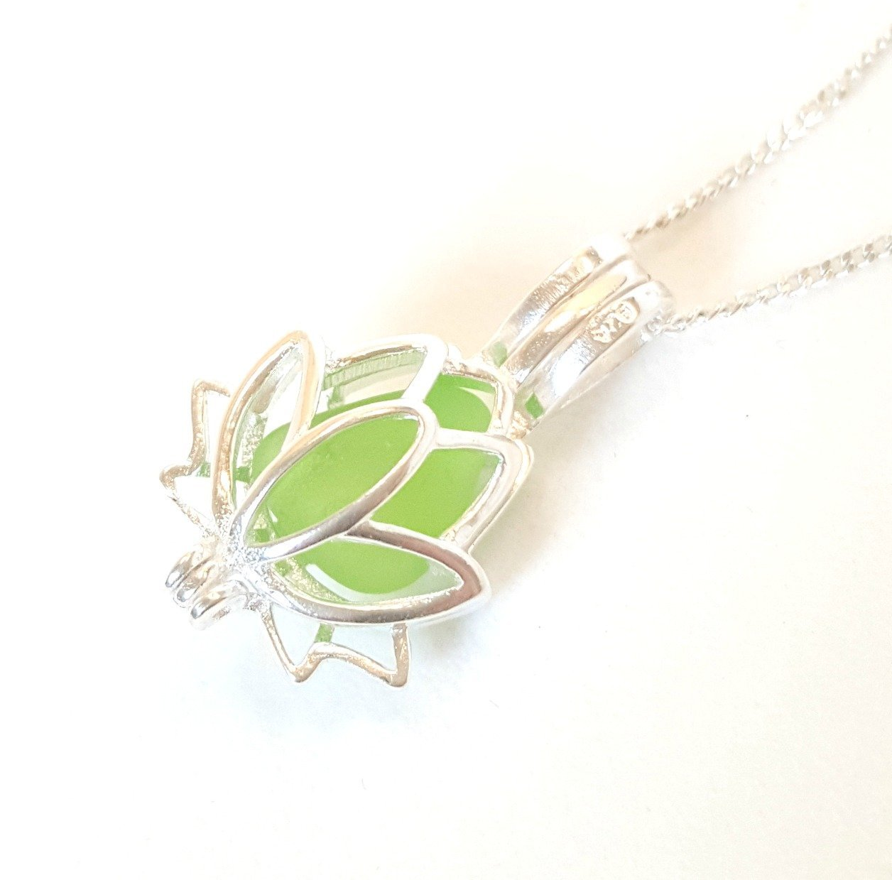 Green Sea Glass and Silver Lotus Flower Necklace