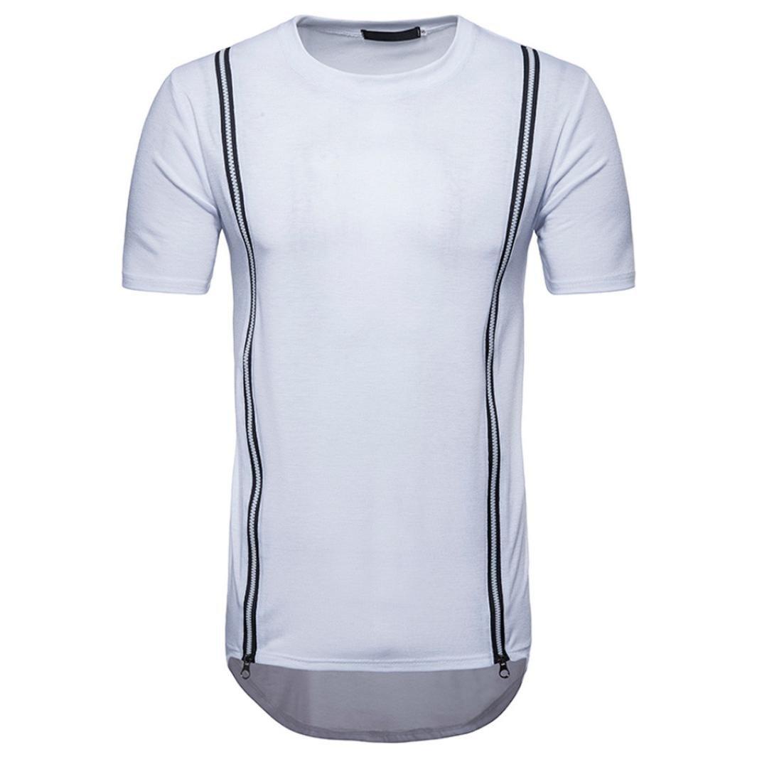 Hombre Camiseta, Sannysis personalidad Hombres Casual Delgado cremallera manga corta camiseta de Top Blusa, color Weiß, tamaño M: Amazon.es: Industria, empresas y ciencia