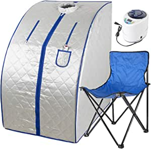 Soniker Portable Steam Sauna Spa for Home, 2L Personal Steam Sauna Tent with Foldable Chair for Weight Loss Detox Relaxation at Home, Remote Control, 60 Minute Timer, 1000 Watt Steam Generator