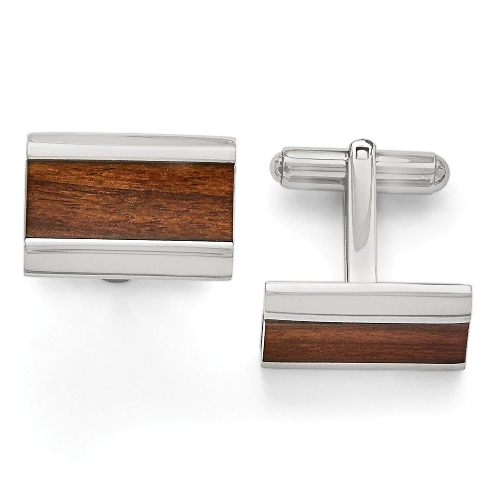 Roy Rose Jewelry Chisel Stainless Steel Polished Wood Inlay Enameled Cuff Links by Roy Rose Jewelry (Image #1)