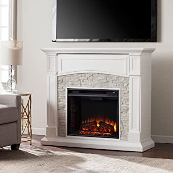 Amazon.com: Southern Enterprises Seneca Faux Stone Electric Fireplace TV Stand: Kitchen & Dining