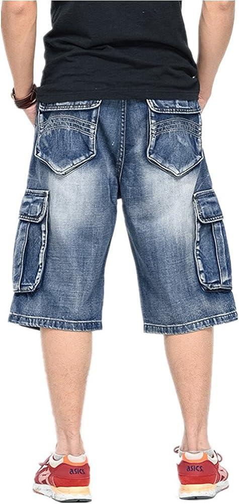 Sunsnow Mens Multi Pockets Blue Denim Cargo Shorts