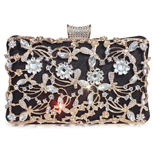 GESU Large Womens Crystal Evening Clutch Bag Wedding Purse Bridal Prom Handbag Party Bag.(Black-1)