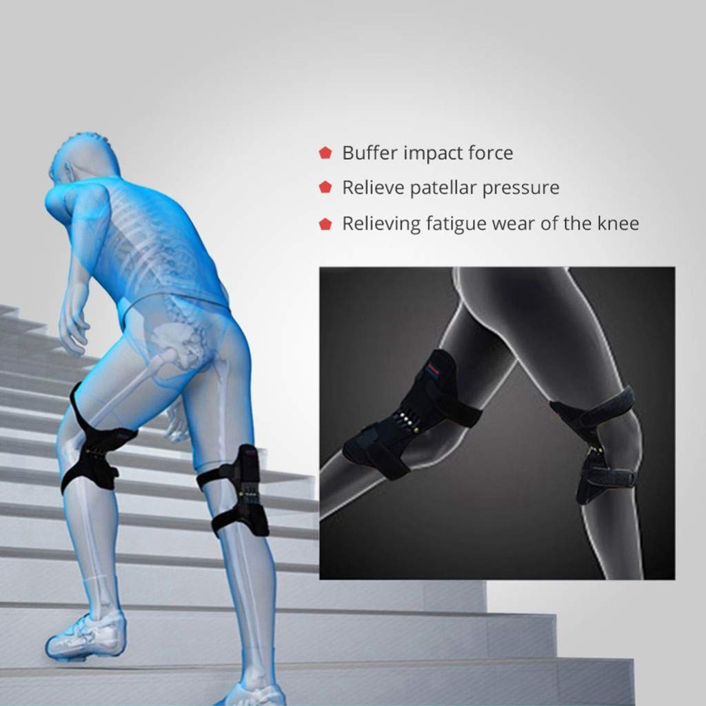 1 Pair Joint Support Knee Pads, PowerLift Joint Support Knee Pads Powerful Rebound Spring Force for Arthritis Tendonitis Gym (B) by Chiccc (Image #4)