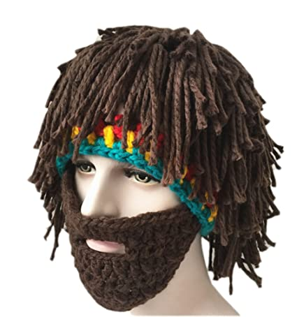 Gorro de lana efecto peluca con barba 3715bdfe534