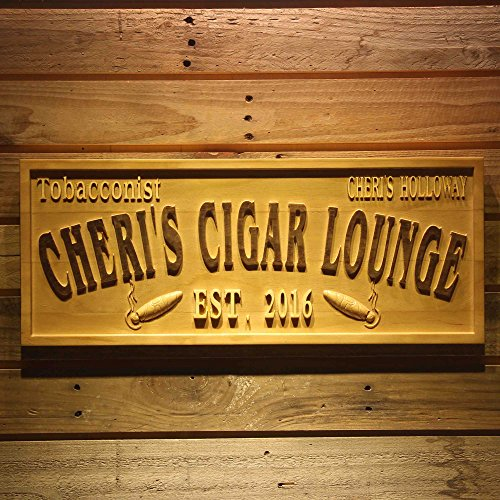 ADVPRO wpa0416 Tobacconist Name Personalized Cigar Lounge Shop Wood Engraved Wooden Sign - Medium 18.25