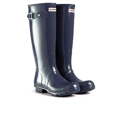 Women's Hunter Boots Original Tall Gloss Snow Rain Boots Water Boots Unisex  - Black - 5