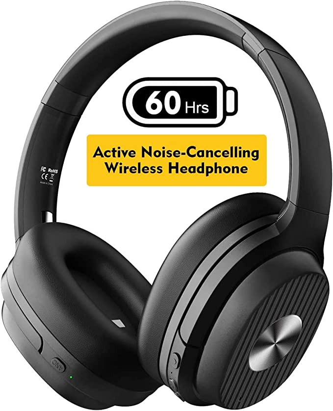 EKSA Active Noise Cancelling Headphones, 60 Hrs Playtime, Bluetooth 5.0 Wireless Headphones, Over Ear Headset with Quick Charge, CVC 8.0 Mic, Soft Protein Earpads, HIFI Deep Bass, for Business Travel