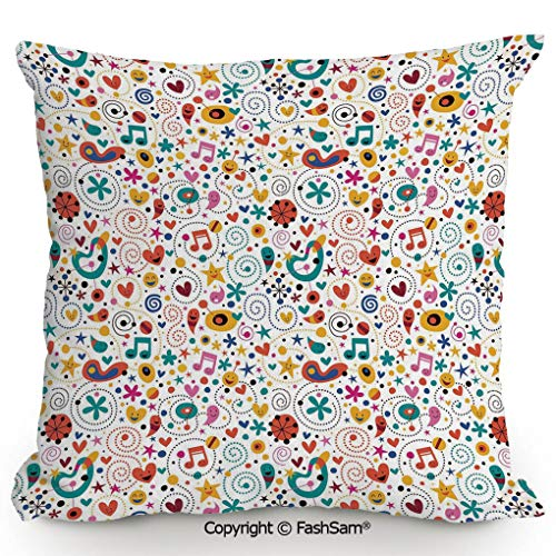 FashSam Throw Pillow Covers Smiling Hearts Stars Dots Musical Notes Happy Characters Playful Cheerful Composition Decorative for Couch Sofa Home Decor(18