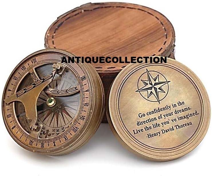 antiquecollectionヴィンテージ真鍮コンパス、レザーケース/ソロー指向性磁気コンパスforナビゲーション/Sundialポケットコンパスのキャンプ、ハイキング、ツーリング