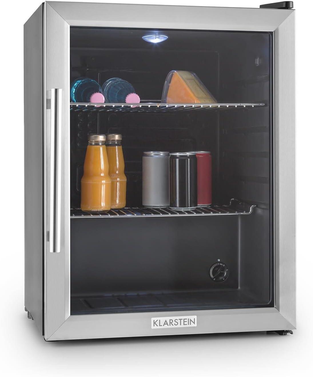 Klarstein Beersafe XL Black Edition - Refrigerador de cerveza, vino y otras bebidas, 60 litros, Clase A++, 2 bandejas de metal extraíbles, Iluminación LED, Puerta de metal con vidrio, Negro/plateado