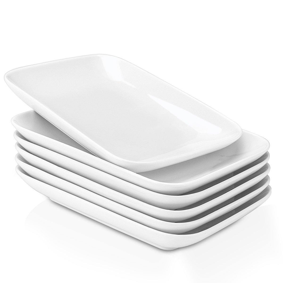 Delling 8 in Ultralight Ceramic Dessert/Appetizer Plates, Rectangular Salad Plates for Fruit, Cheese, Dessert, Lunch and More - Set of 6, White