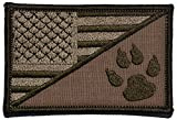 USA Flag/Tracker Paw Scout Emblem 2.25x3.5 Morale Patch - Multiple Color Options (Coyote Brown)