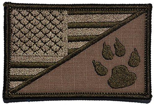 USA Flag/Tracker Paw Scout Emblem 2.25x3.5 Morale Patch - Multiple Color Options (Coyote - Patch Emblem