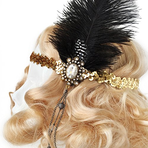 Gold Showgirl Costume (Flapper Costume Headband, Gatsby Costume Headpiece (Gold band, Black Feather))