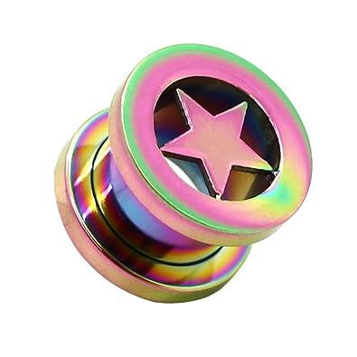 Set o Solo Expansor Túnel Tunnel Plug Piercing Estrella y Dilatador Taper Acero 2-10mm Color Arco Iris Rainbow, color:Tunnel rainbow / arc-en-ciel - 10mm: ...