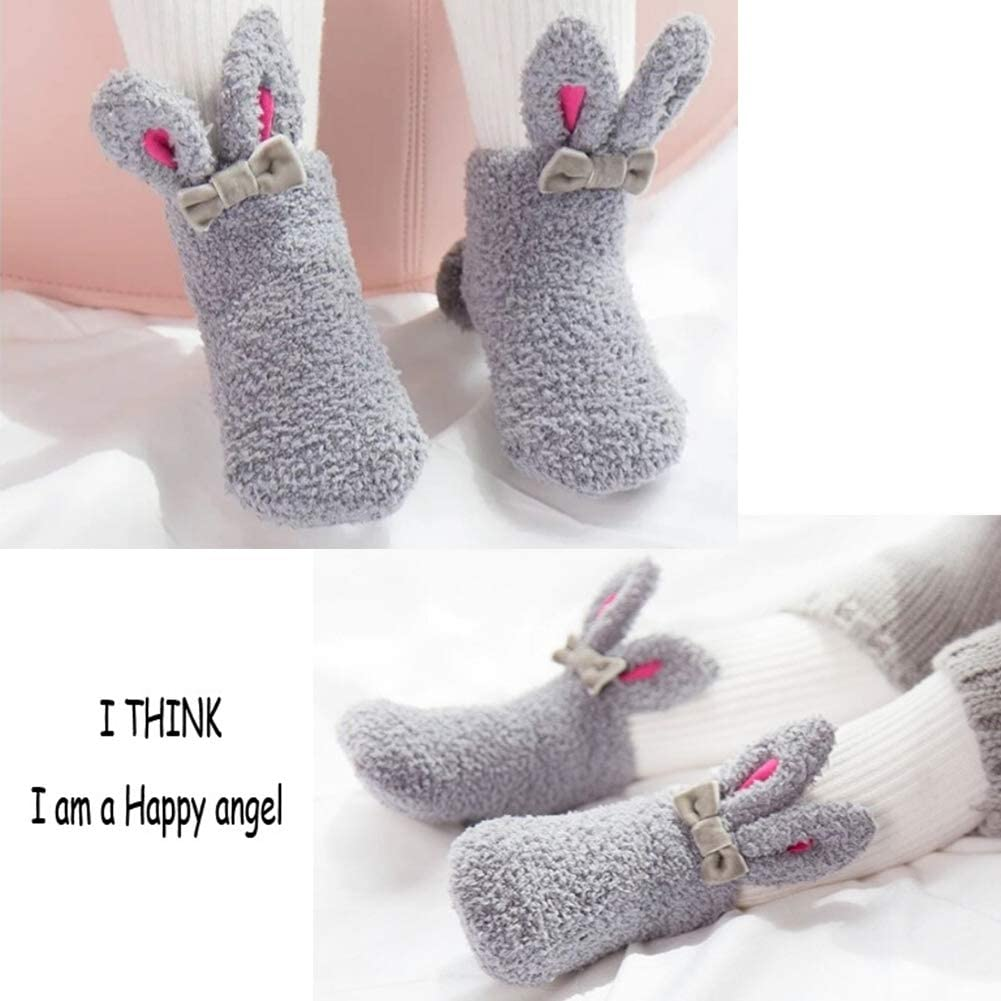 3 Pairs Anti-Slip Baby Winter Socks Toddler High Terry Socks Boys Girls Thick Warm Cotton Socks Infant Cute Cartoon Cosy Bed Socks Newborn Boneless Grip Socks For Baby 6-36 Months